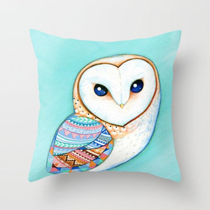 Tribal Pattern Barn Owl Throw Pillow By Clearjadestudio
