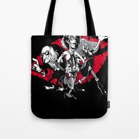 rocky horror Tote Bags featuring Rocky Horror Gang by Billy Allison