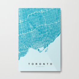 Toronto Map | Canada | Blue & Cyan | More Colors, Review My Collections Metal Print