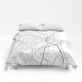 Fayetteville Map, USA - Black and White Comforters