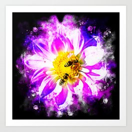 bees on flower splatter watercolor Art Print