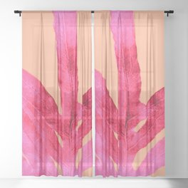 Peach Pink Ferns, Living Coral Sheer Curtain