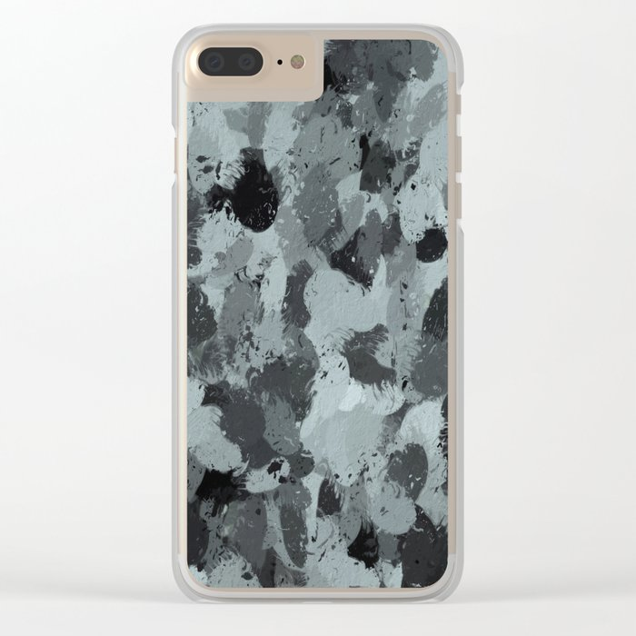 Black and Smokey Blue Pastels 3216 Clear iPhone Case