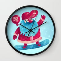 snowboard Wall Clocks featuring Snowboard Santa by Lime