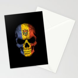 Dark Skull with Flag of Moldova Stationery Cards