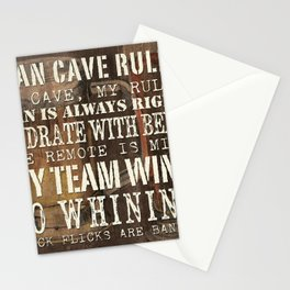 Man Cave Rules Beer Stationery Cards