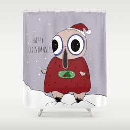 // Mr. WobbleBobble says Happy Christmas! // Shower Curtain