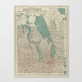 Vintage Map of Manitoba (1915) Canvas Print