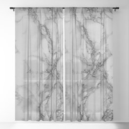 Gray and Black Marble Sheer Curtain