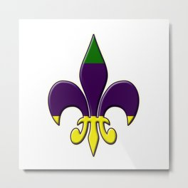 Fleur de lis ...purple, green and gold Metal Print