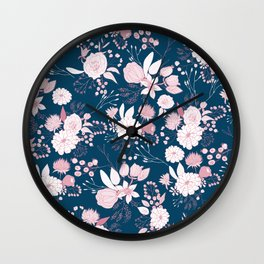 Elegant mauve pink white navy blue rustic floral Wall Clock
