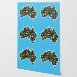 map of Australia. Wombat Echidna Platypus Emu Tasmanian devil Cockatoo kangaroo dingo octopus fish Wallpaper