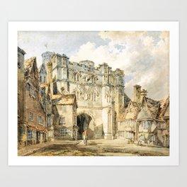 Christian church gate, Canterbury - Joseph Mallord William Turner Art Print