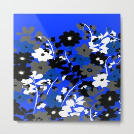 SUNFLOWER TRELLIS BLUE BLACK GRAY AND WHITE TOILE Metal Print