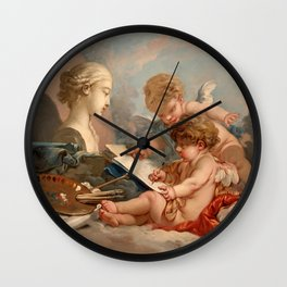 "François Boucher ""Cupids. Allegory of Painting"" Wall Clock"