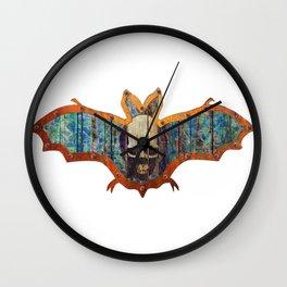 Handmade Hallowwen Bat Decoration In A Retro Style Wall Clock