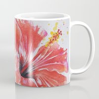 hibiscus Mugs featuring Hibiscus by Maria Lozano - Art