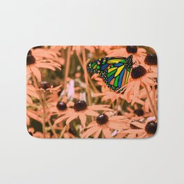 Surreal Monarch Butterfly on Coral Flowers Bath Mat
