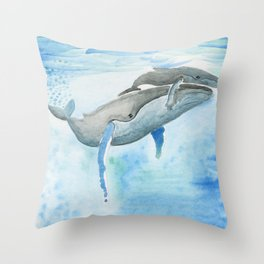 Ama - Whale mom and calf song Throw Pillow