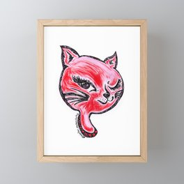 Winking Kitty Red Framed Mini Art Print