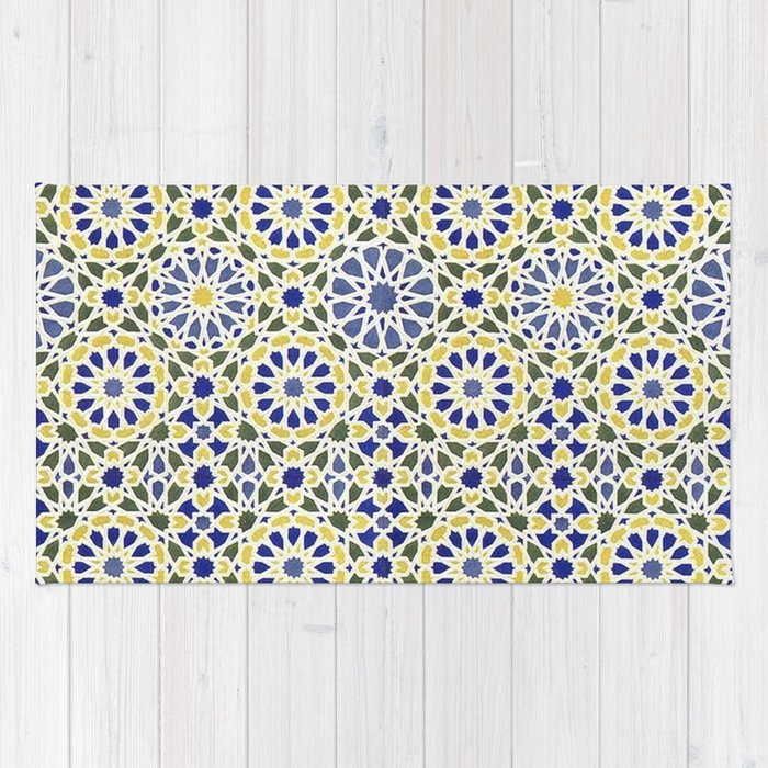 Middle Eastern Tile Pattern In Blue And Yellow 40 Rug By Yaklab Simple Middle Eastern Patterns