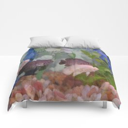 Four Oscars swimming in an aquarium (Painted) Comforters