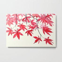 red maple leaves watercolor painting Metal Print