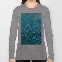 Teal turquoise blue shiny glitter print effect - Sparkle Luxury Backdrop Long Sleeve T-shirt