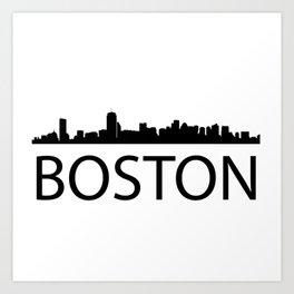 Black silhouette Bostons with word BOSTON Art Print