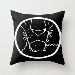 White Line Lion Mouth Throw Pillow