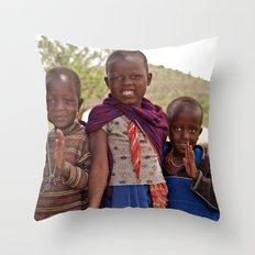 Maasai Children Throw Pillow
