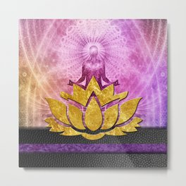 Crown Chakra Meditation & Gold Metallic Lotus Metal Print