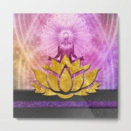 Crown Chakra Meditation & Gold Metallic Lotus Metal Print