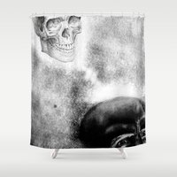 evil dead Shower Curtains featuring Evil by shaunsheep