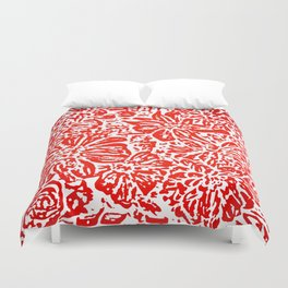 Marigold Lino Cut, Rad Red Duvet Cover