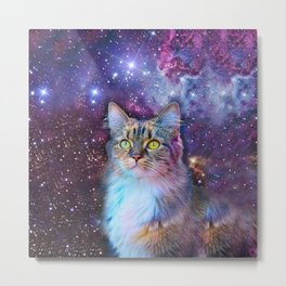 Proud Cat With Space Background                                                                   Metal Print