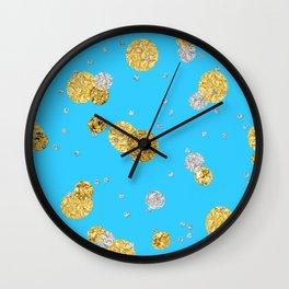 Glittery Dream-Gold Diamond Glitter Polka dots on aqua teal background Wall Clock