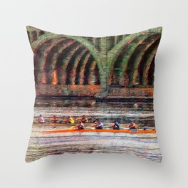 Rowing under the Hanover Street Bridge at Sunrise Throw Pillow