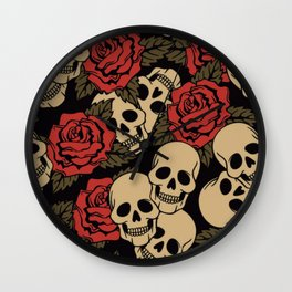 Roses and Skulls Wall Clock