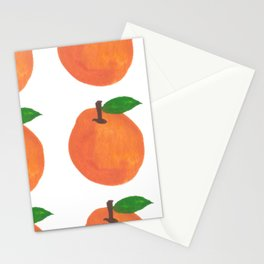 Orange Pattern White Stationery Cards