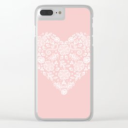 Millennial Pink Blush Rose Quartz Hearts Lace Flowers Pattern Clear iPhone Case