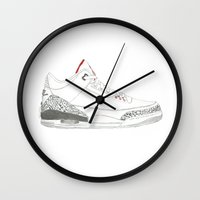 air jordan Wall Clocks featuring Air Jordan 3 Retro 88 by Ivana Citakovic