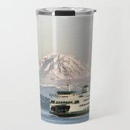 Seattle Bainbridge Island Ferry with Mount Rainier Travel Mug