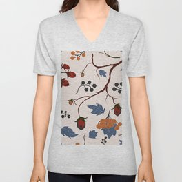 seamless pattern with forest berries Unisex V-Neck
