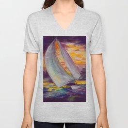 Amber Sloop Sail Contemporary Design  Unisex V-Neck