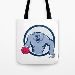 Grizzly Bear Angry Dribbling Basketball Cartoon Tote Bag