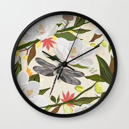 Magnolia Tree, Flowers and Dragonfly Soft Nature Colored Pattern Wall Clock
