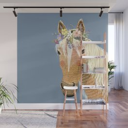 Horse with flower crown Wall Mural