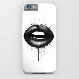 Black Lips Art Watercolor Print Kiss Love Sexy Girl Fashion Poster Lipstick Chic Makeup Decor iPhone Case