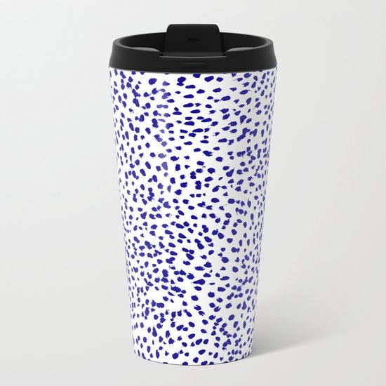 Vonnie - abstract minimal indigo blue dalmatian dots brushstrokes animal print monochromatic print Metal Travel Mug